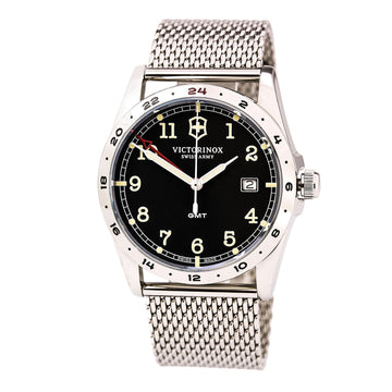 Swiss Army 241649 Men's Infantry Black Dial Stainless Steel Mesh Bracelet GMT Watch