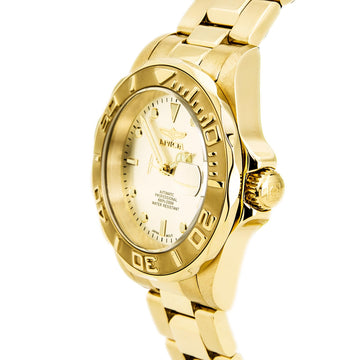 Invicta 9010 Men's Yellow Steel Bracelet Automatic Pro Diver Champagne Dial Date Watch