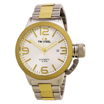 TW Steel CB35 Men's Canteen Bracelet Silver Dial Automatic Two Tone Yellow Gold Steel Date Watch