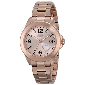 Invicta Women's Rose Gold Steel Watch - Specialty Love Rose Gold Dial | 16328