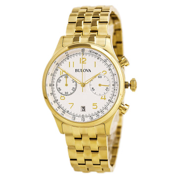 Bulova Men's Chronograph Watch - Classic Yellow Gold Bracelet Grey Dial | 97B149