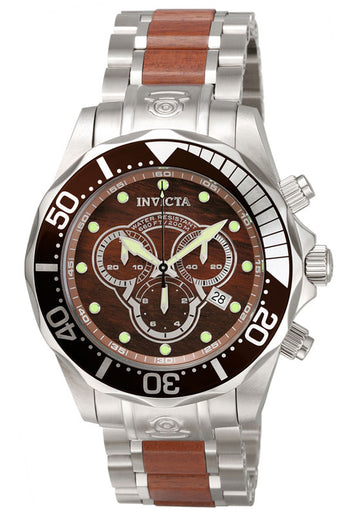 Invicta 0164 Men's Wood and Steel Bracelet Swiss Quartz Pro Diver Chrono Brown Dial Watch