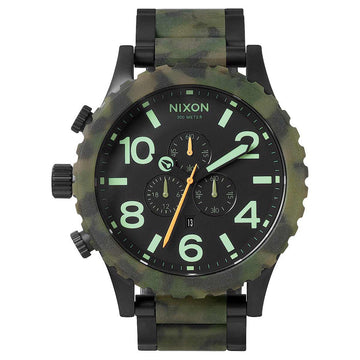 Nixon A0831428 Men's 51-30 Chrono Black Dial Steel & Camo Acetate Bracelet Lefty Dive Watch