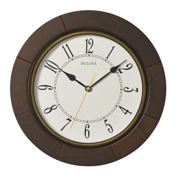 Bulova C4255 Cherryhill White Dial Brown Cherry Hardwood Wall Clock