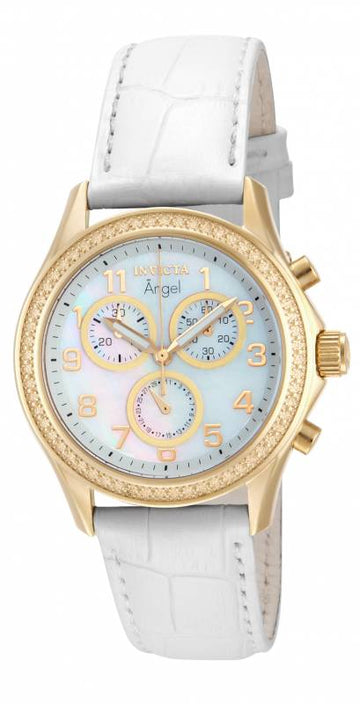 Invicta Women's Angel Chronograph MOP Dial Watch - Quartz White Leather Strap | 12990
