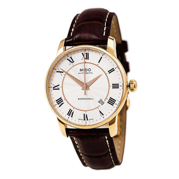 Mido M86002218 Men's Baroncelli II Brown Leather Strap Automatic Watch