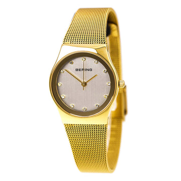 Bering 12927-334 Women's Classic White Dial Yellow Gold Milanese Steel Mesh Bracelet Watch