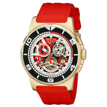 Invicta Men's Reserve Chronograph Watch - Sea Vulture Red Silicone Band Skeleton Dial