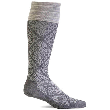 Sockwell Knee High Socks - Full Floral Graduated Compression, Charcoal | SW70W