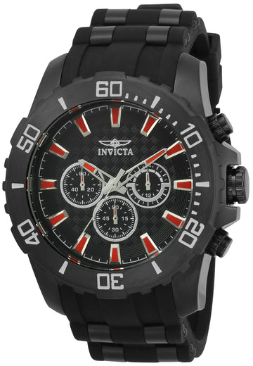 Invicta 22560 Men's Pro Diver Black Dial Black IP Steel & Silicone Strap Chronograph Watch