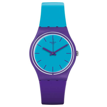 Swatch GV128 Unisex Archi-Mix Mixed Up Blue Dial Blue & Purple Silicone Strap Watch