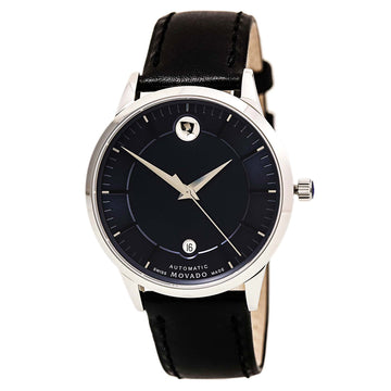 Movado 0606874 Men's 1881 Automatic Black Leather Strap Blue Dial Date