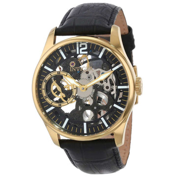 Invicta 12405 Men's Vintage Black Skeleton Dial Black Leather Strap Gold Tone Steel Watch