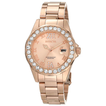 Invicta 15253 Women's Rose Gold Bracelet Quartz Pro Diver Crystal Watch