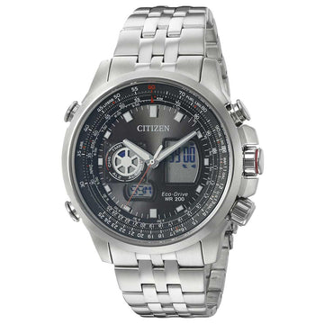 Citizen JZ1060-76E Men's Steel Bracelet Eco Drive Promaster Air Chrono Black Dial Ana-Digi Watch