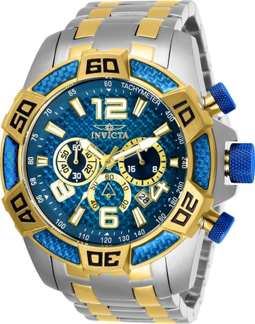 Invicta Men's Chronograph Watch - Pro Diver Blue Dial Two Tone Bracelet | 25855