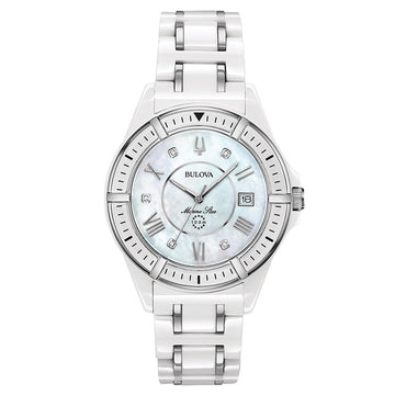 Bulova 98P172 Women's Marine Star MOP Dial Steel & White Ceramic Bracelet Diamond Watch
