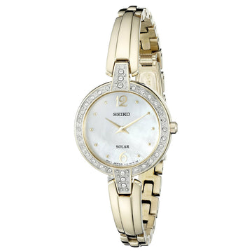 Seiko SUP290 Women's Core Solar Yellow Gold Steel Bangle Bracelet MOP Dial Swarovski Crystal Watch
