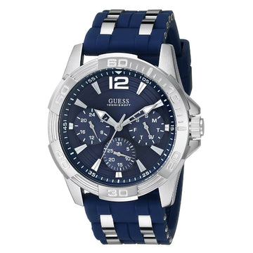 Guess U0366G2 Men's Steel And Blue Silicone Strap Quartz Iconic Signature Blue Dial Day-Date Watch