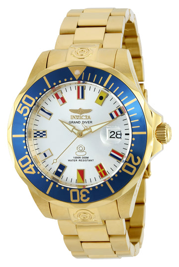 Invicta Men's Automatic Watch - Grand Diver Silver Dial Yellow Steel Bracelet | 21325