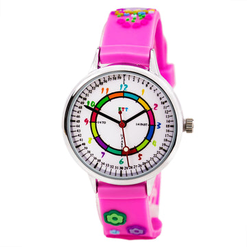 ETT103 Kid's Pink Rubber Strap Quartz Time Teaching Watch