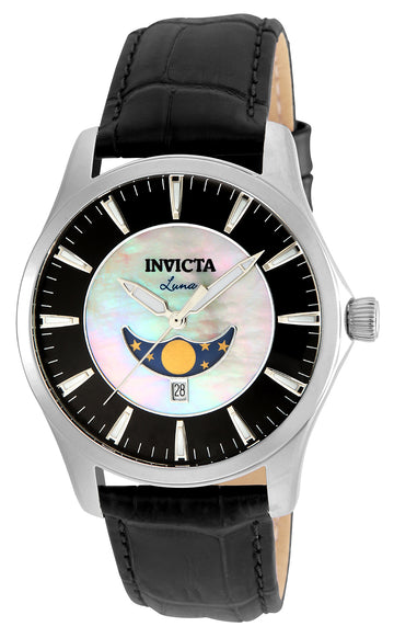 Invicta Men's Moon Phase Watch - Vintage White MOP & Black Dial | 23128