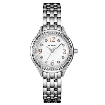 Bulova Women's Classic Stainless Steel Watch - Quartz White Dial Bracelet | 96L212