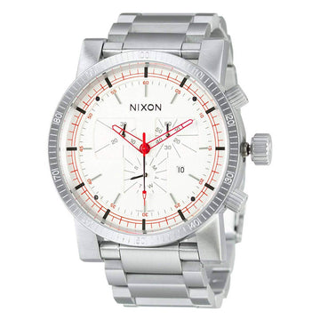 Nixon Men's Chronograph Watch - Magnacon SS II White Dial Steel Bracelet | A154199