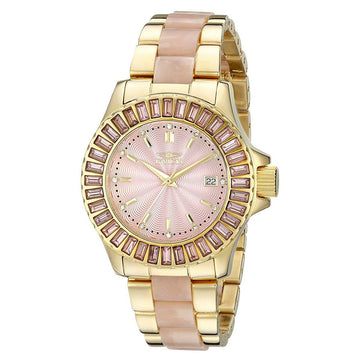 Invicta 17942 Women's Angel Pink Dial Yellow Gold Steel & Pink Pearlized Resin Bracelet Watch