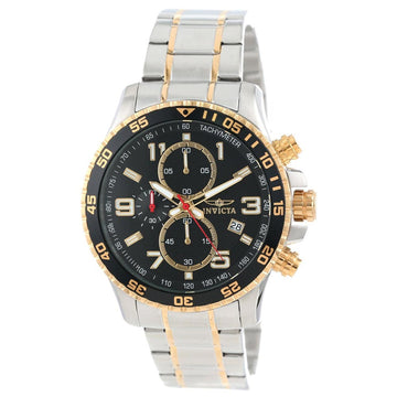 Invicta 14876 Men's Two Tone Yellow Bracelet Quartz Specialty Chrono Black Dial Date Watch