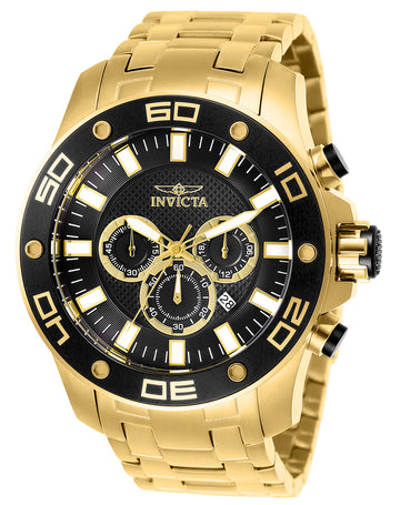 Invicta Men's Chronograph Watch - Pro Diver Yellow Gold Bracelet | 26076