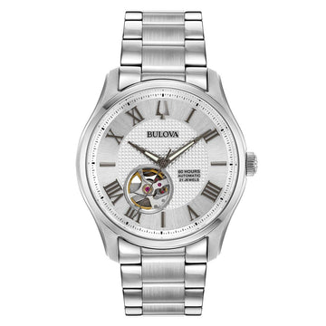 Bulova Men's Steel Bracelet Watch - Classic Automatic Silver Dial Power Reserve | 96A207