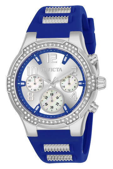 Invicta 24203 Women's BLU Silver Dial Steel & Blue Silicone Strap Chronograph Crystal Watch