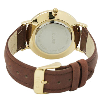 Cluse CL18408 Women's Brown Leather Band Quartz La Boheme White Dial Yellow Steel Watch