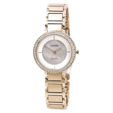 Citizen Women's Eco Drive Watch - Silhouette Crystal Rose Gold Steel MOP Dial
