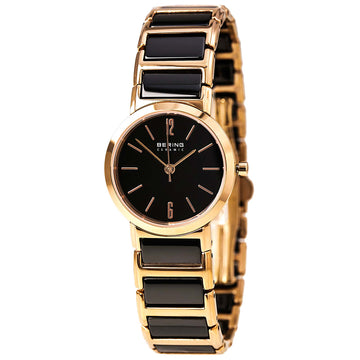 Bering 30226-746 Women's Ceramic Quartz Rose Gold Steel & Black Ceramic Bracelet Watch