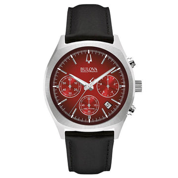 Bulova 96B238 Men's Accutron II Red Dial Black Leather Strap Chronograph Watch