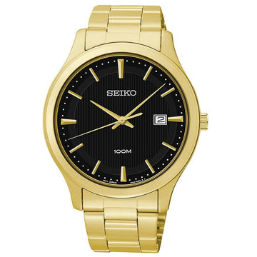 Seiko SUR088 Men's Black Dial Yellow Gold Steel Bracelet Watch