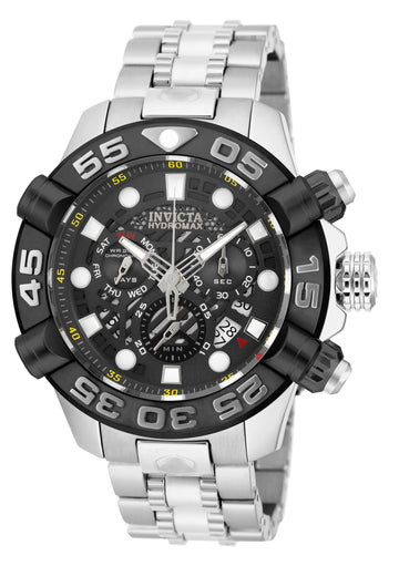 Invicta 19275 Men's Hydromax Black Dial Stainless Steel Bracelet Chronograph Dive Watch