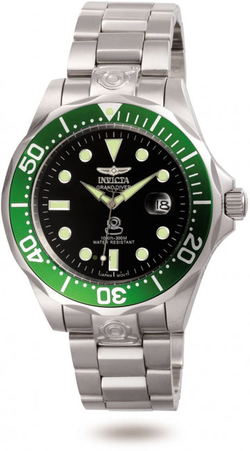 Invicta 3047 Men's Stainless Steel Bracelet Automatic Grand Diver Green Bezel Date Watch