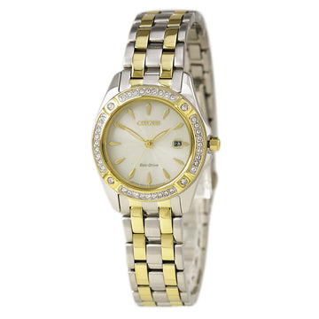 Citizen EW2354-53P Women's Eco Drive Silhouette Crystal Champagne Dial Date Watch