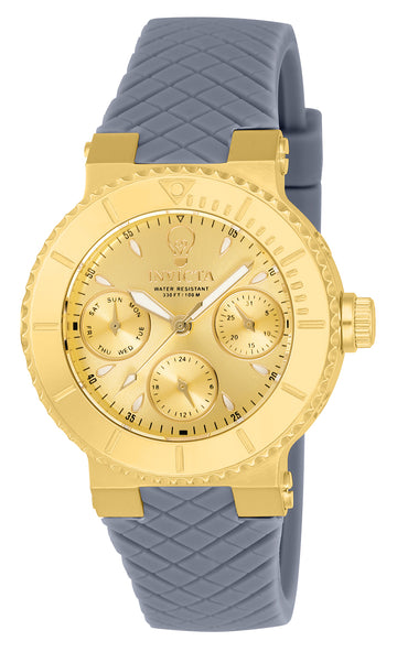Invicta 22954 Women's Gabrielle Union Gold Tone Dial Light Grey Silicone Strap Watch