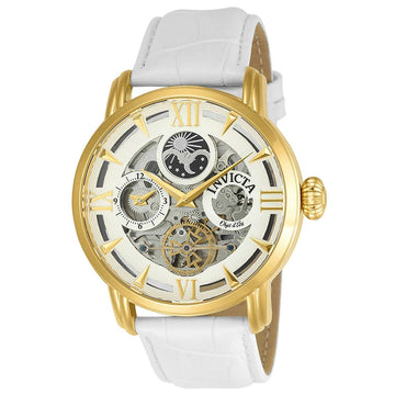 Invicta 22652 Men's White Leather Strap Automatic Objet D Art White-Silver Semi-Skeleton Dial Watch