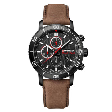 Wenger Men's Chronograph Watch - Roadster Leather Strap Black Dial | 01.1843.107