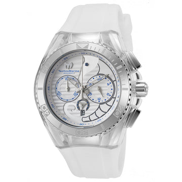 Technomarine TM-115006 Unisex Cruise Dream Chrono Seahorse White Dial Interchangeable White Strap Dive Watch