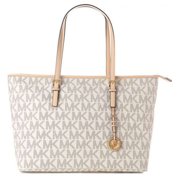 Michael Kors Women's Shoulder Tote - Jet Set Vanilla PVC Large | 30T5GTVT2B-150