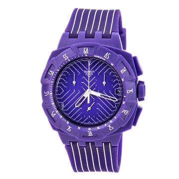 Swatch SUIV401 Men's Purple Run Silicone Strap Purple Dial Quartz Chronograph Swiss Date Watch