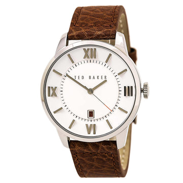 Ted Baker 10015154 Men's Dress Sport White Dial Brown Leather Strap Watch
