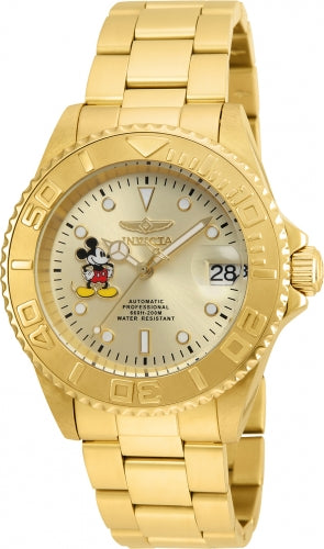 Invicta 22779 Men's Yellow Stainless Steel Automatic Disney Edition Champagne Dial Date Watch