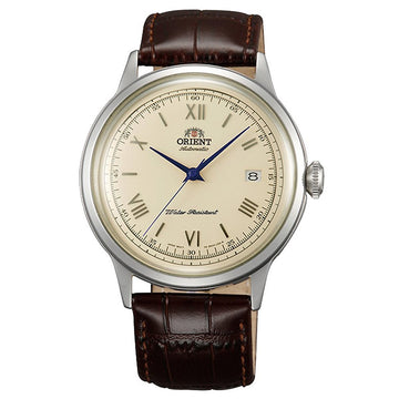 Orient Men's Automatic Watch - Bambino II Dark Brown Leather Strap Beige Dial